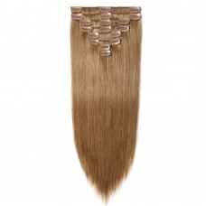 8 Pcs Straight Clip In Remy Hair Extensions #6 Light Brown