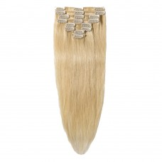 8 Pcs Straight Clip In Remy Hair Extensions #613 Bleach Blonde