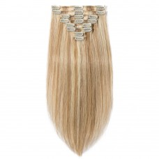 8 Pcs Double Weft Straight Clip In Remy Hair Extensions #12/613
