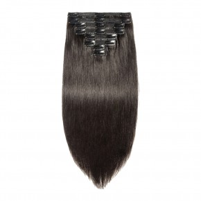 8 Pcs Double Weft Straight Clip In Remy Hair Extensions #1B Natural Black