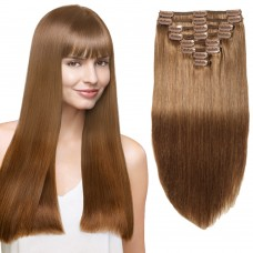 8 Pcs Double Weft Straight Clip In Remy Hair Extensions #6 Light Brown