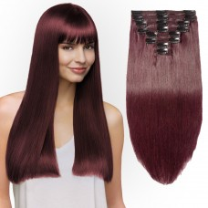 8 Pcs Double Weft Straight Clip In Remy Hair Extensions #99J Wine Red