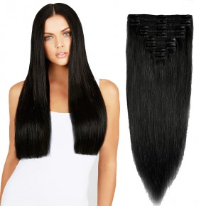 8 Pcs Double Weft Straight Clip In Remy Hair Extensions #1 Dark Black