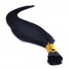 50g 0.5g/s Straight I-Tip Hair Extensions #1 Dark Black