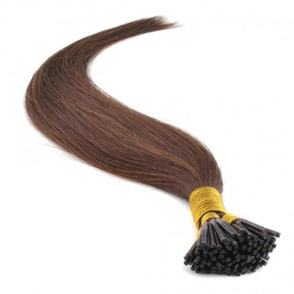50g 0.5g/s Straight I-Tip Hair Extensions #4 Medium Brown