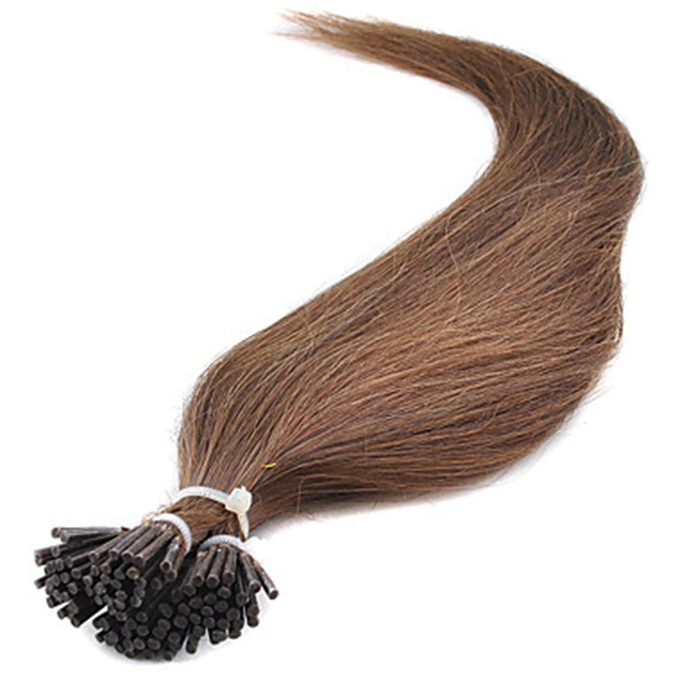 50g 0.5g/s Straight I-Tip Hair Extensions #6 Light Brown