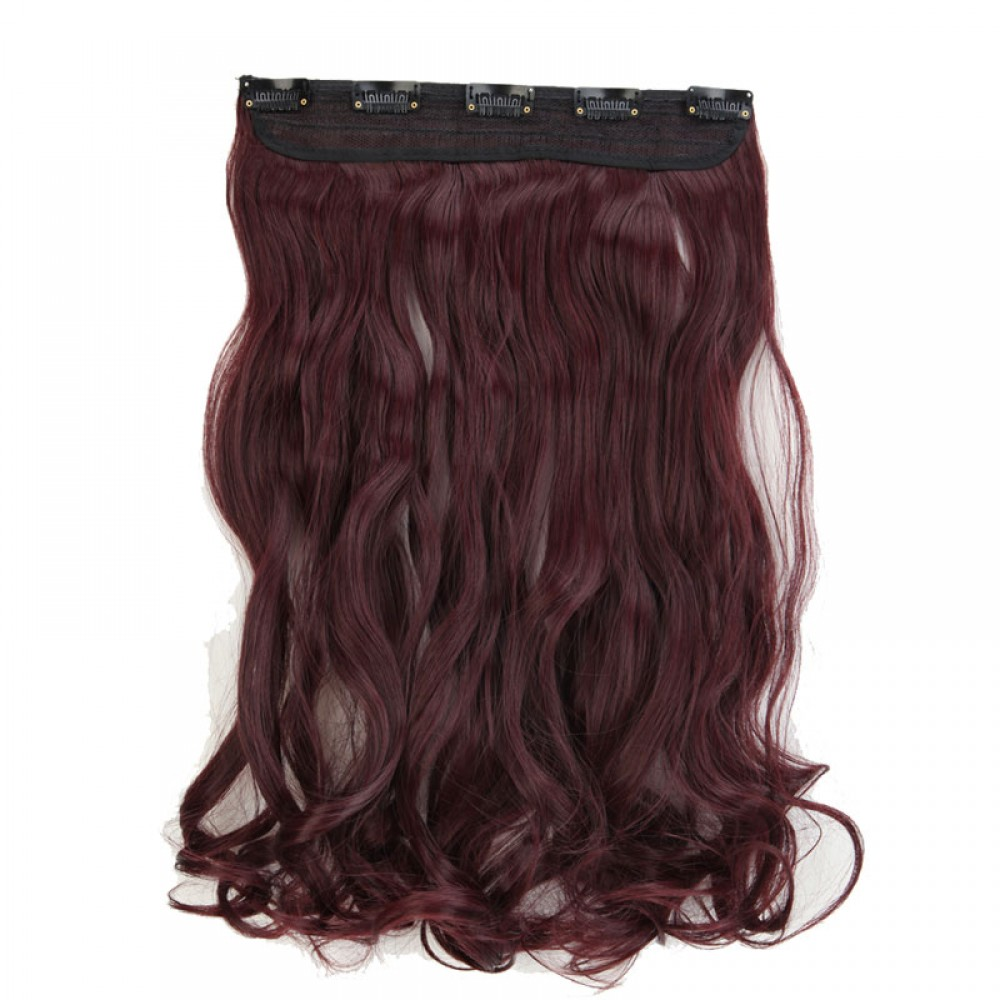 24 110 Wine Red 1pcs Curly Synthetic Clip In Hair Extensions