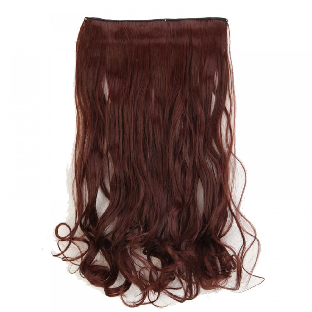 "24"" #33 Dark Auburn 1Pcs Curly Synthetic Clip In Hair Extensions"