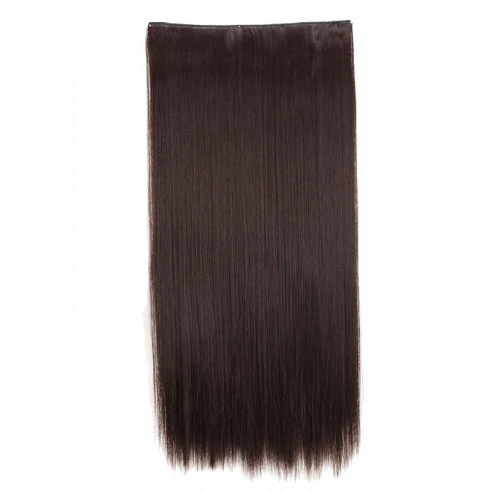 "26"" #4A Dark Brown 1Pcs Straight Synthetic Clip In Hair Extensions"
