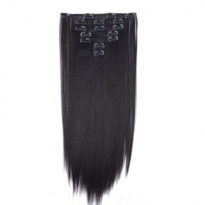 """23"""" #2A Natural Black 8Pcs Straight Synthetic Clip In Hair Extensions"""