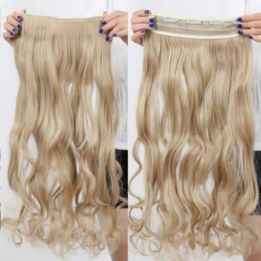"1 Piece 28"" Curly Synthetic Clip In Hair Extensions #24  Ash Blonde"