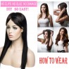 18 Inch Human Hair Hidden Wire Extensions Flip on Secret Extensions Dark Black