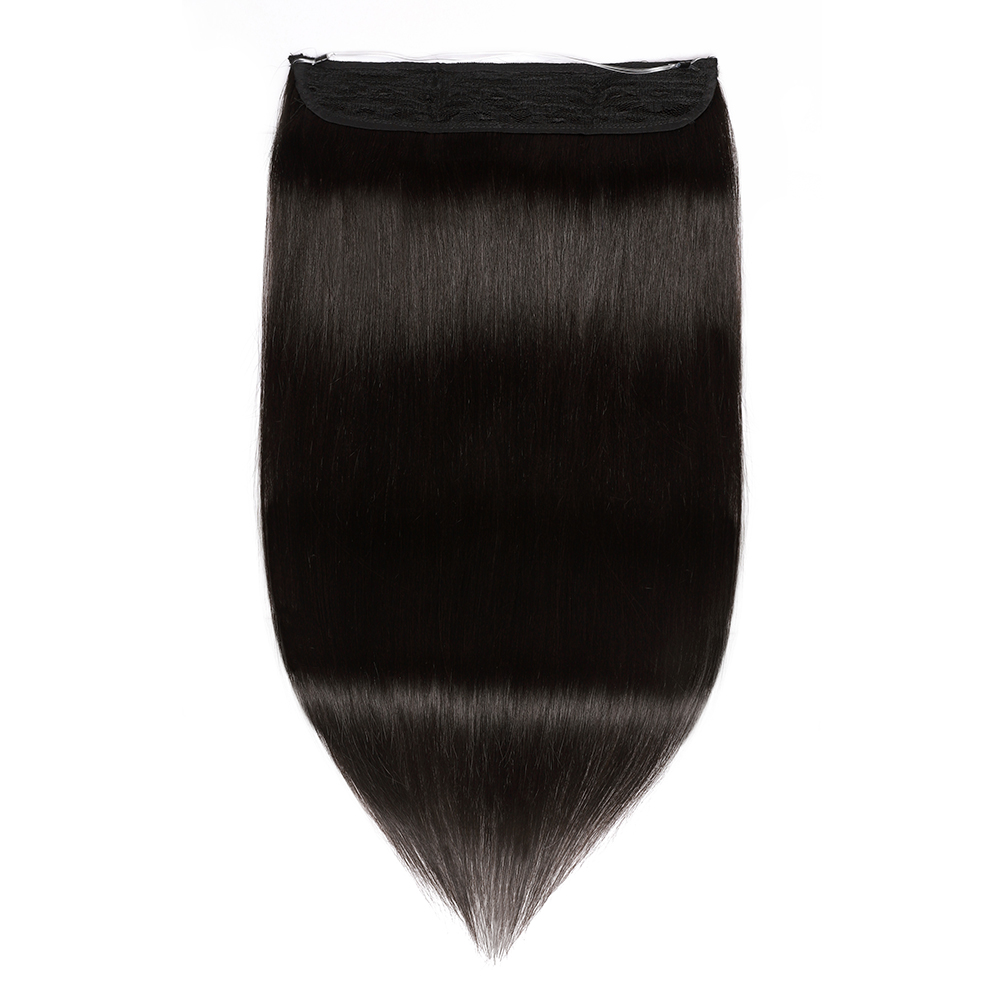 """One Piece Straight Wire In Remy Human Hair Extensions #1 Black 20"""""""