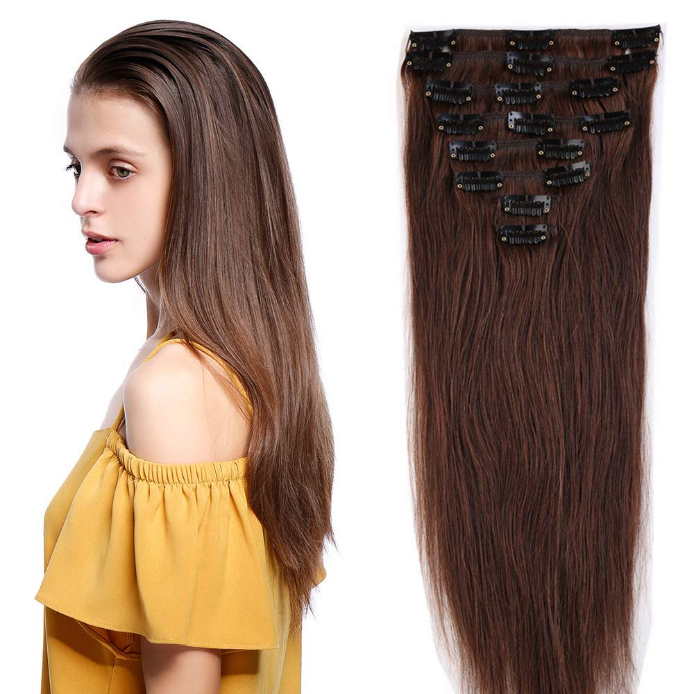 8 Pcs Straight Clip In Remy Hair Extensions 4 Medium Brown