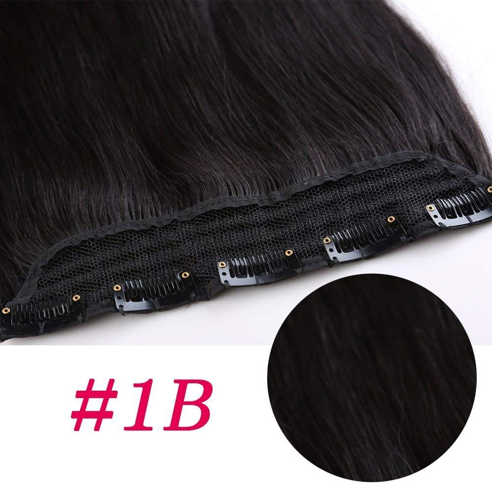 1 Piece Straight Clip In Remy Hair Extensions #1B Natural Black