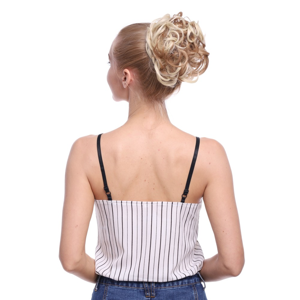 Messy Curly Long Synthetic Hair Bun Maker Band Blonde Mix