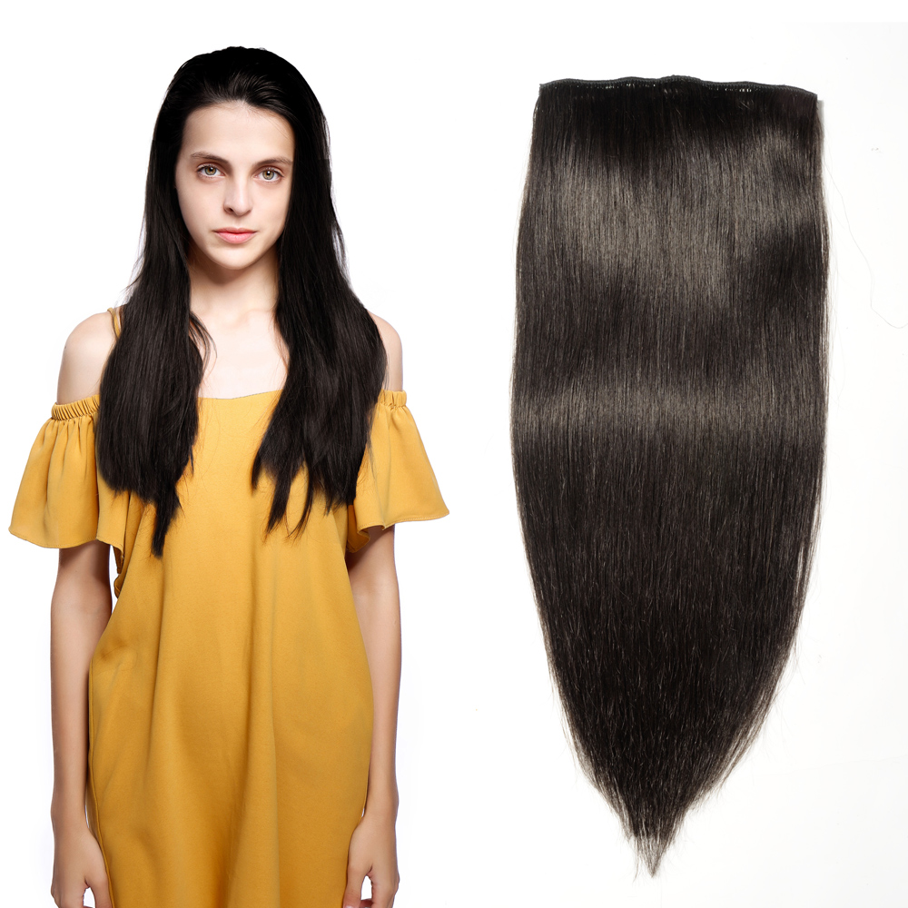 8 Pcs Straight Clip In Remy Hair Extensions #1B Natural Black