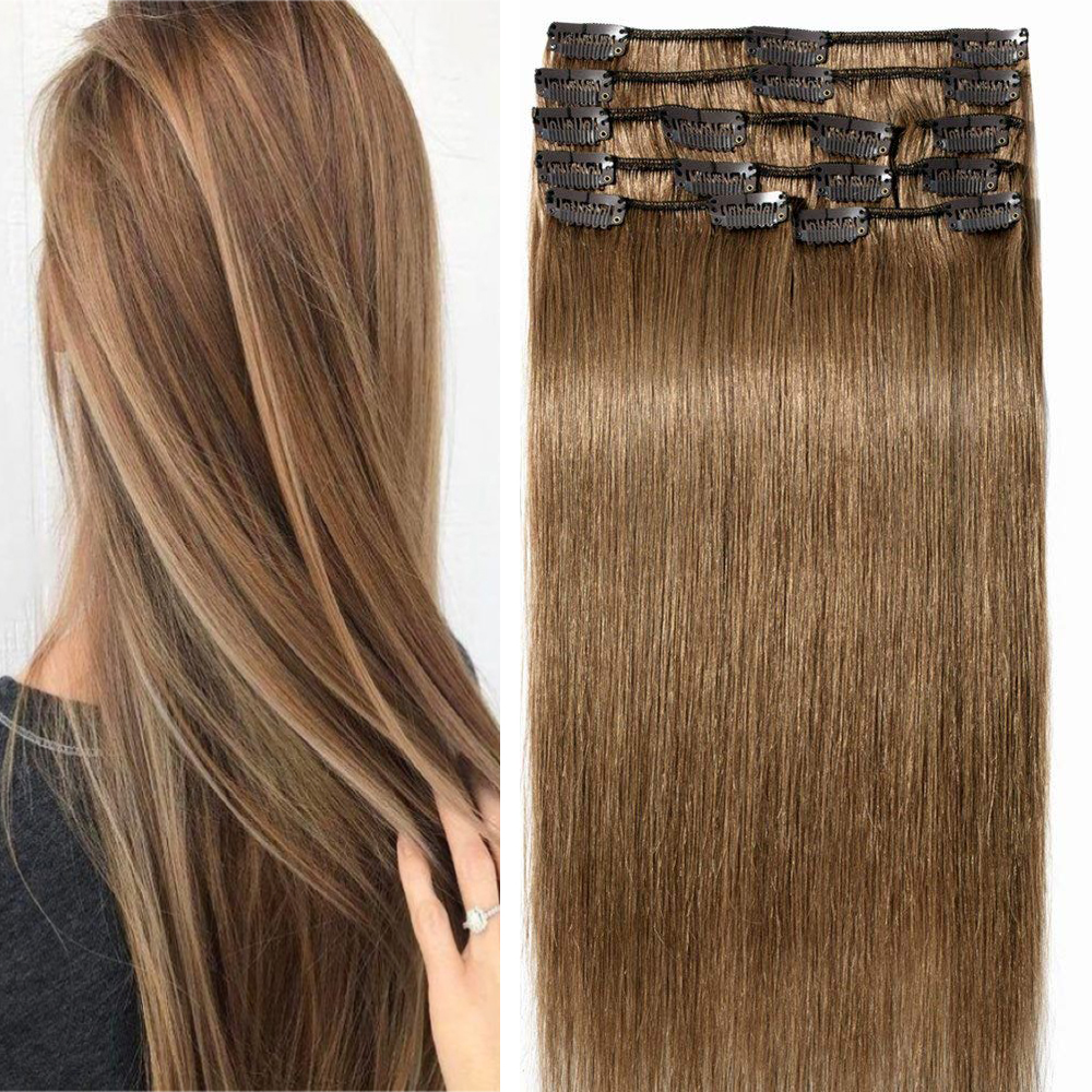8 Pcs Straight Clip In Remy Hair Extensions #6 Light Brown 12inch