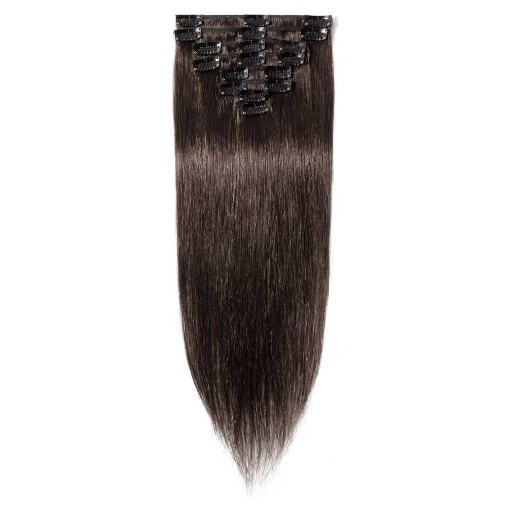 8 Pcs Straight Clip In Remy Hair Extensions #2 Dark Brown