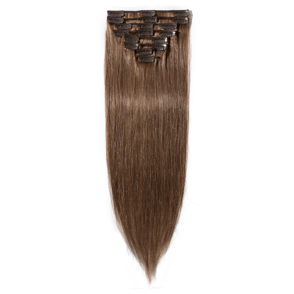 8 Pcs Straight Clip In Remy Hair Extensions #30 Light Auburn