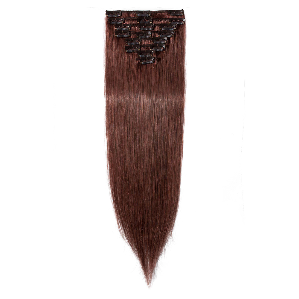8 Pcs Straight Clip In Remy Hair Extensions #33 Dark Auburn