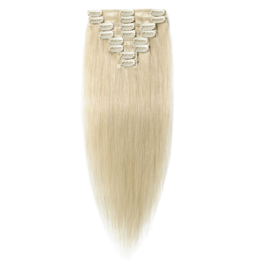 8 Pcs Straight Clip In Remy Hair Extensions #60 Platinum Blonde