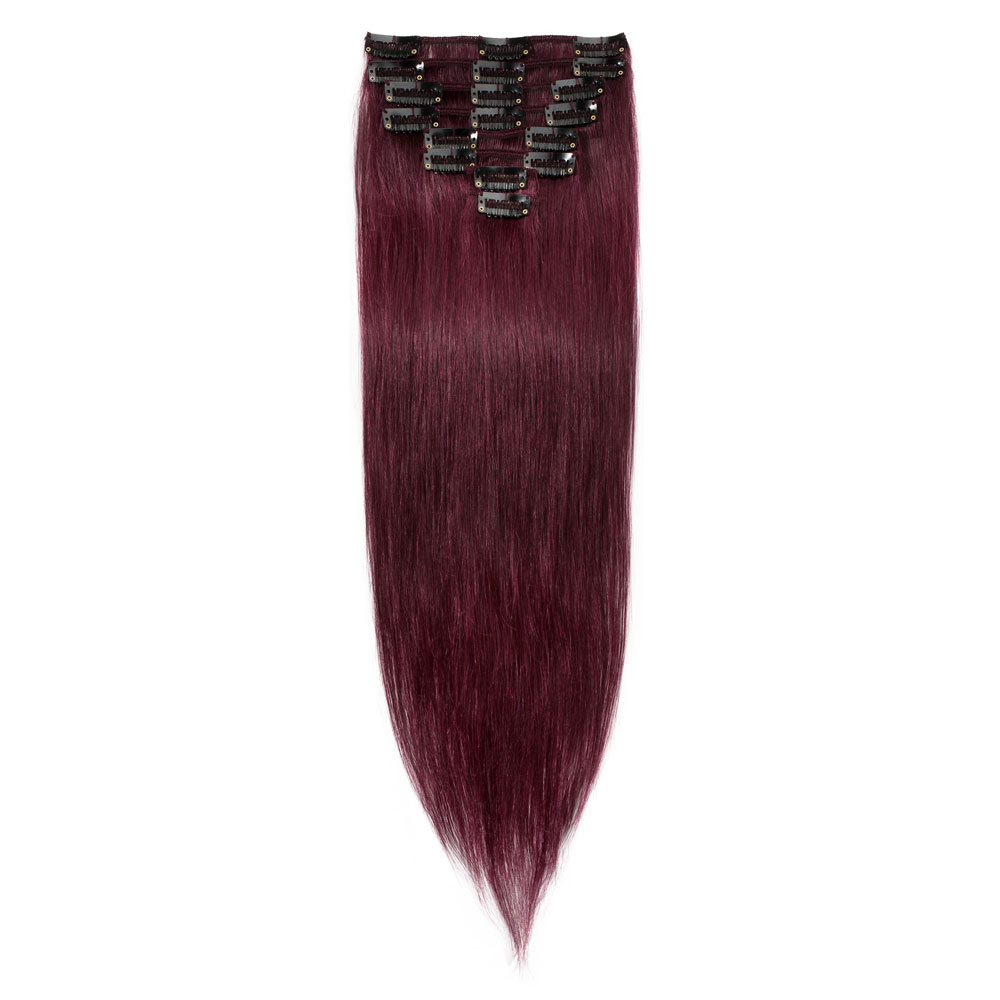 1 piece straight clip in remy hair extensions 99j wine red 8 pcs straight clip in remy hair extensions 99j wine red pmusecretfo Images
