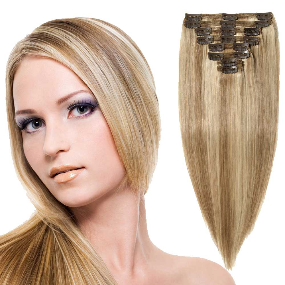 """【 16""""-22"""" 】8 Pcs Double Weft Straight Clip In Remy Hair Extensions #18/613"""