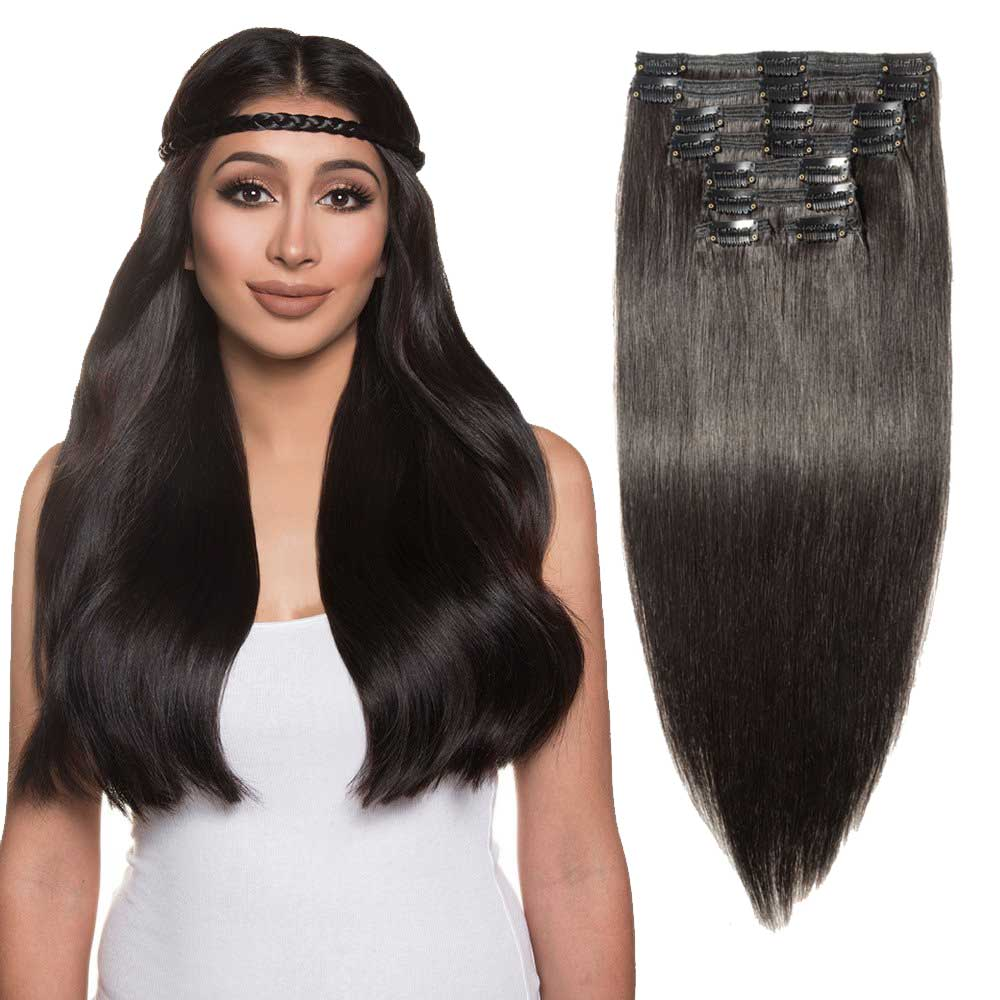 8 Pcs Double Weft Straight Clip In Remy Hair Extensions 1b Natural