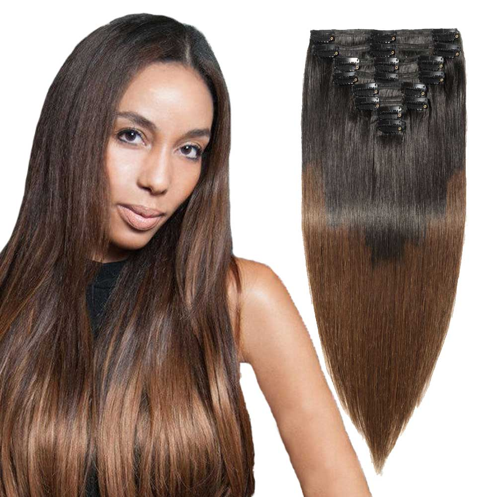 "【 16""-22"" 】8 Pcs Double Weft Straight Clip In Remy Hair Extensions #1B/4"