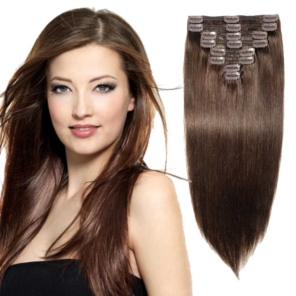 "【 16""-22"" 】8 Pcs Double Weft Straight Clip In Remy Hair Extensions #2 Dark Brown"