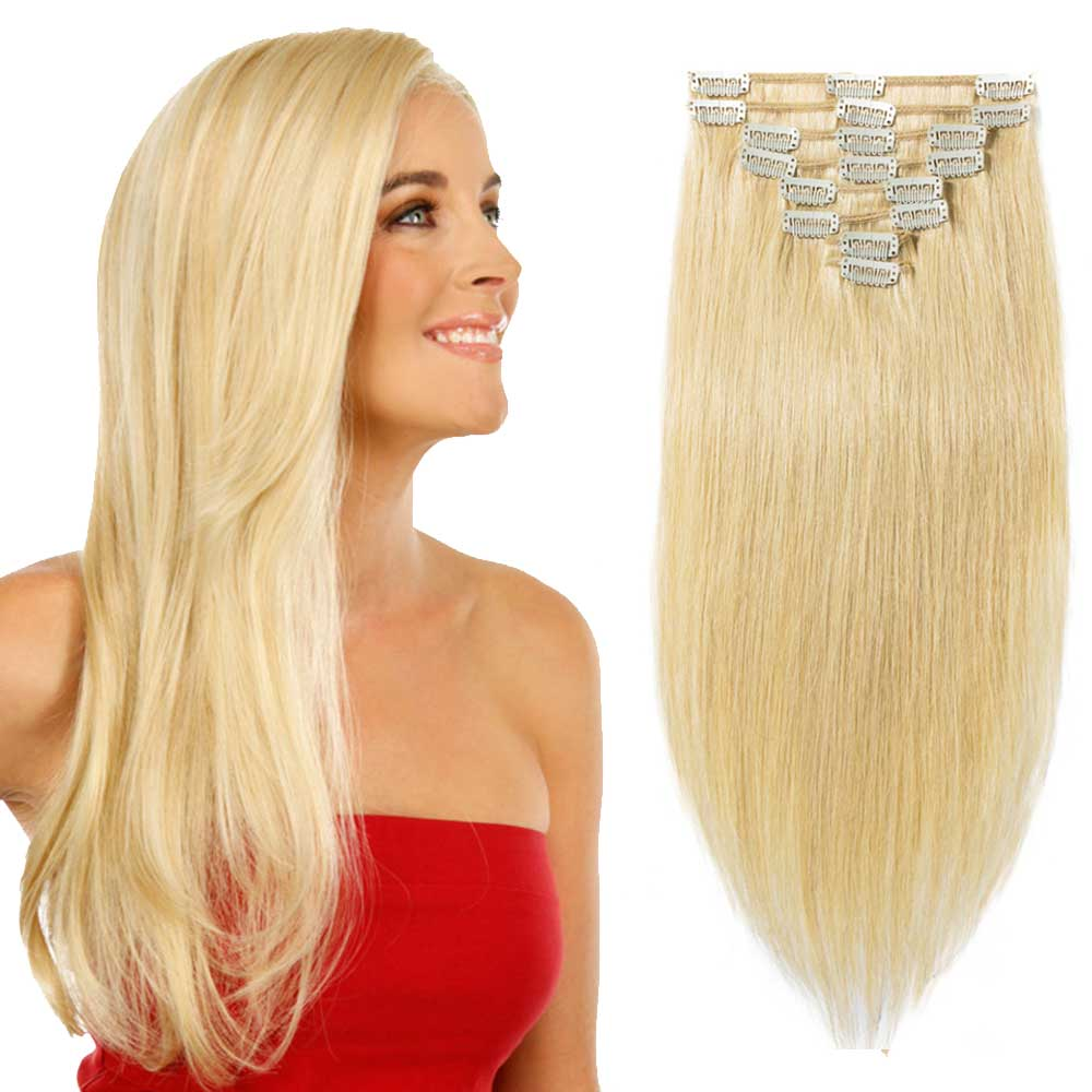 8 Pcs Double Weft Straight Clip In Remy Hair Extensions 24 Ash Blonde