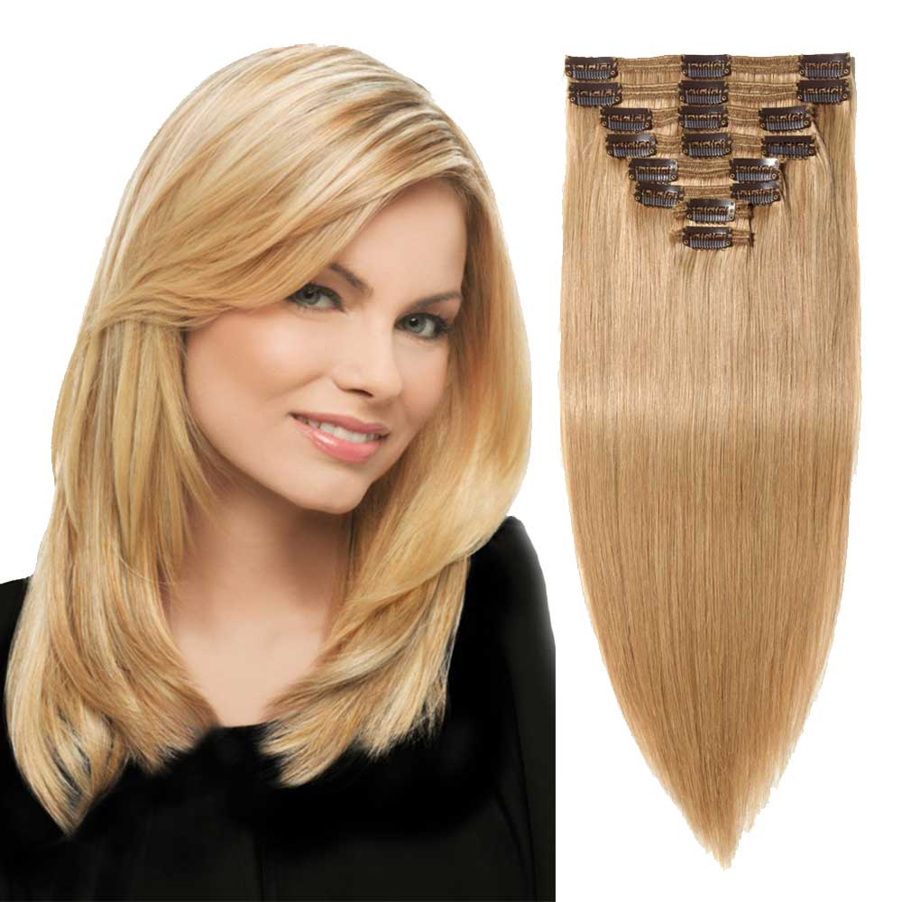 8 Pcs Double Weft Straight Clip In Remy Hair Extensions 27 Dark Blonde
