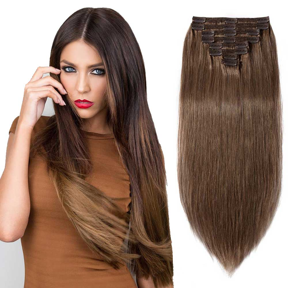"【 16""-22"" 】8 Pcs Double Weft Straight Clip In Remy Hair Extensions #30 Light Auburn"