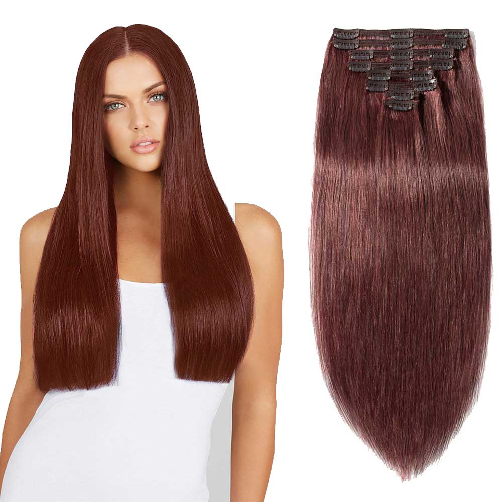 "【 16""-22"" 】8 Pcs Double Weft Straight Clip In Remy Hair Extensions #33 Dark Auburn"