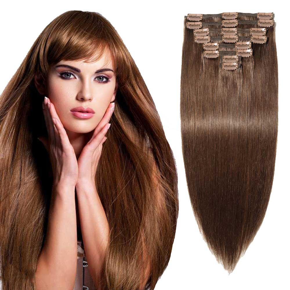 "【 16""-22"" 】8 Pcs Double Weft Straight Clip In Remy Hair Extensions #4 Medium Brown"