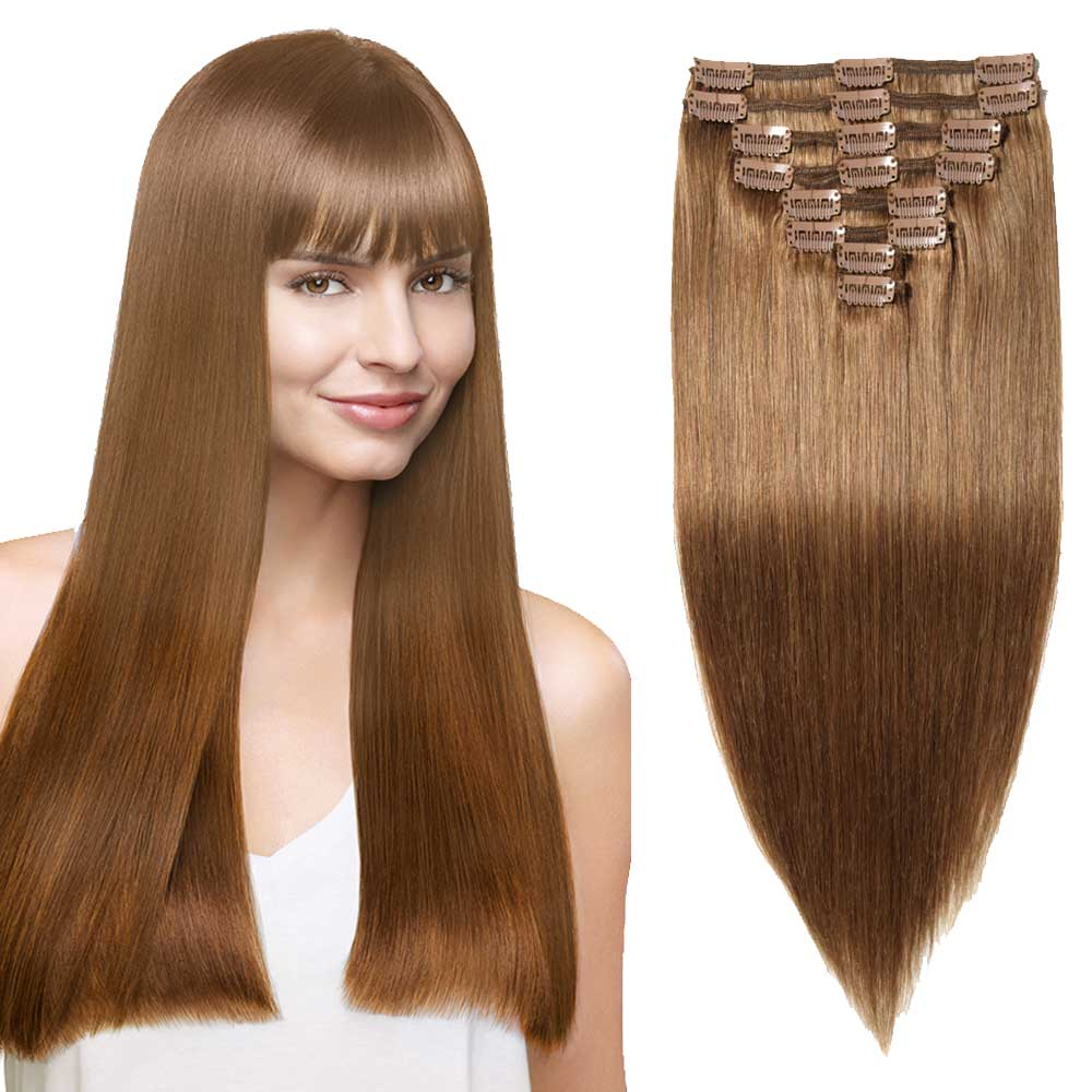 "【 16""-22"" 】8 Pcs Double Weft Straight Clip In Remy Hair Extensions #6 Light Brown"