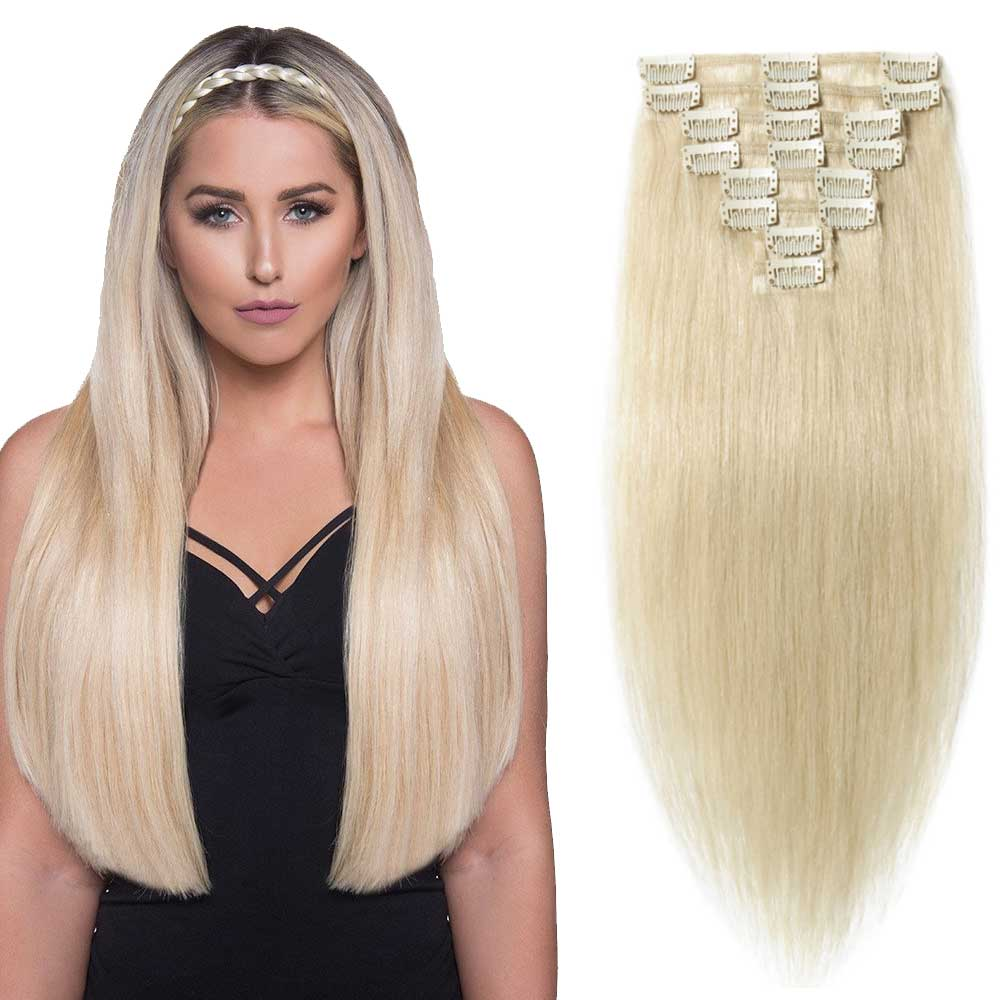 "【 16""-22"" 】8 Pcs Double Weft Straight Clip In Remy Hair Extensions #60 Platinum Blonde"