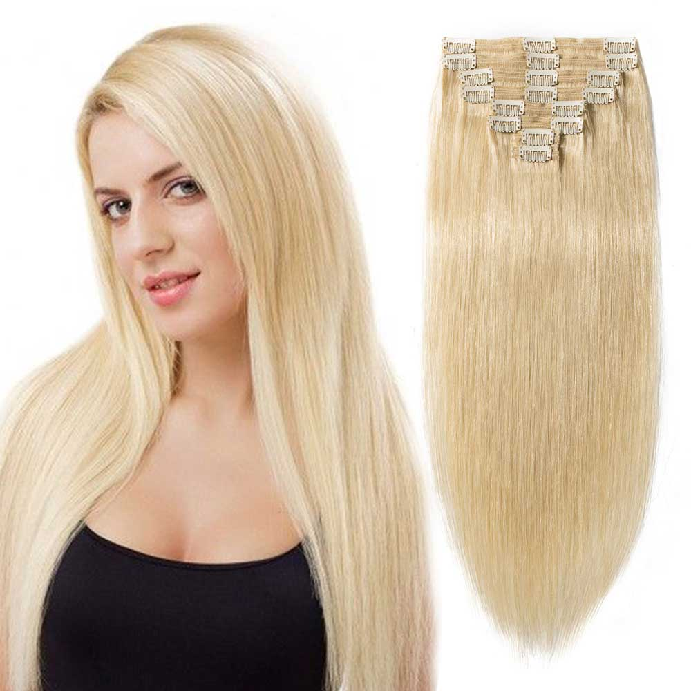 "【 16""-22"" 】8 Pcs Double Weft Straight Clip In Remy Hair Extensions #613 Bleach Blonde"