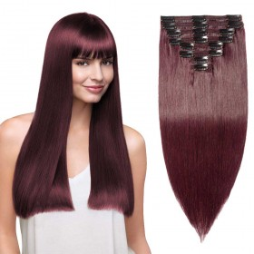 8 pcs straight clip in remy hair extensions 33 dark auburn 8 pcs double weft straight clip in remy hair extensions 99j wine red pmusecretfo Images
