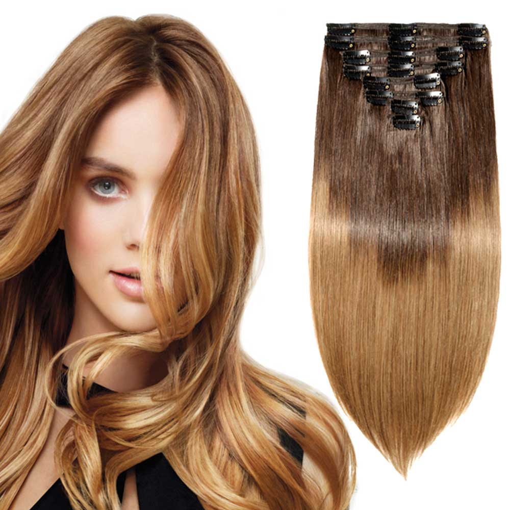 8 Pcs Double Weft Straight Clip In Remy Hair Extensions 26