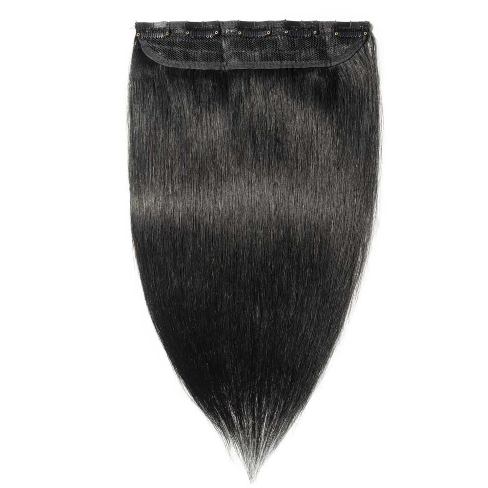 1 Piece Straight Clip In Remy Hair Extensions #1 Dark Black