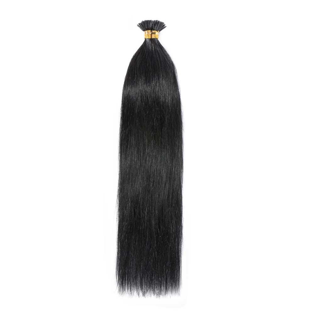 50g 0.5g/s Straight I-Tip Hair Extensions #1 Dark Black