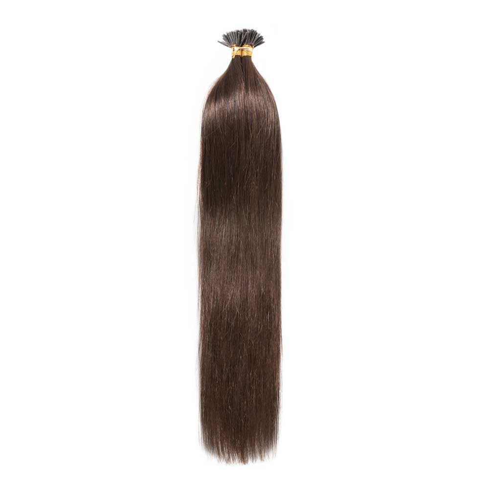 50g 0.5g/s Straight I-Tip Hair Extensions #4 Medium Brown