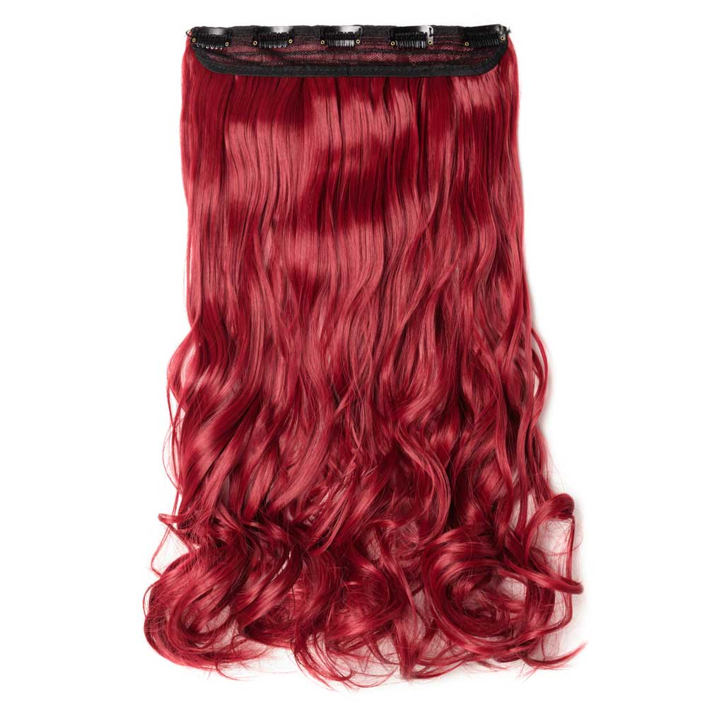 1 Piece Curly Synthetic Clip In Hair Extensions M130m Dark Red