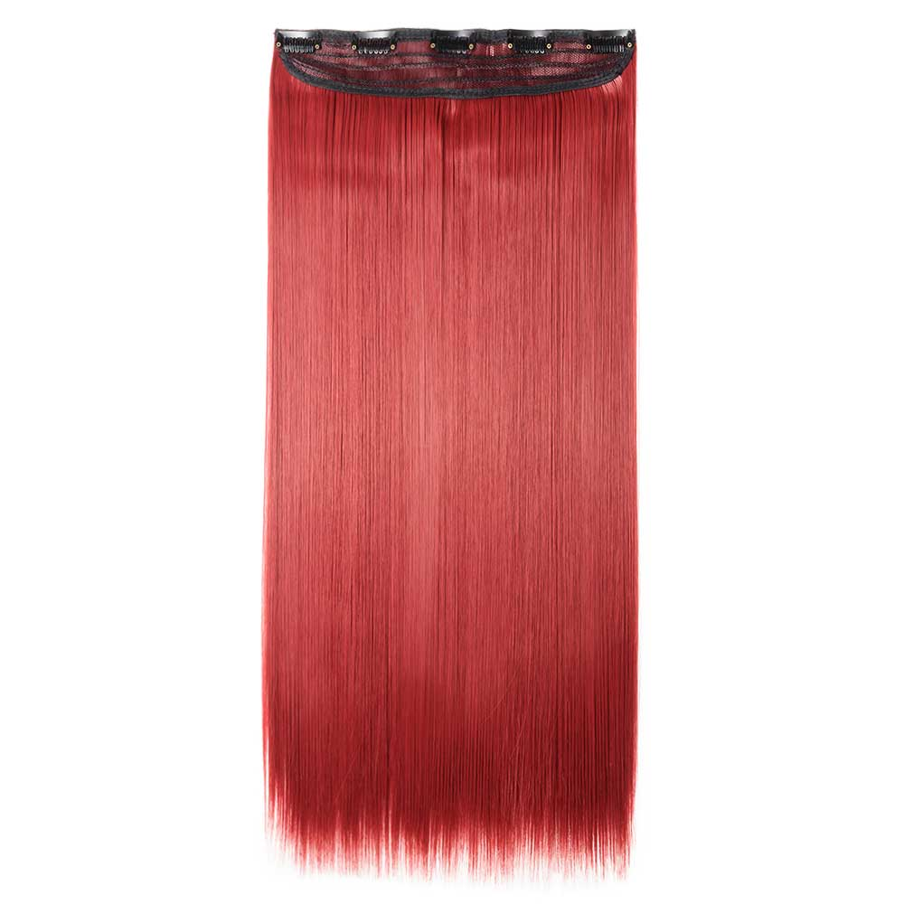 1 Piece Straight Synthetic Clip In Hair Extensions M130m Dark Red