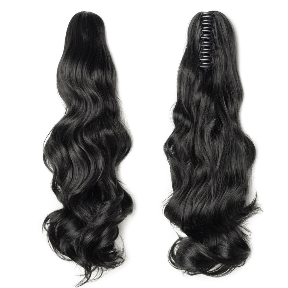 """18"""" 145g #1 Dark Black Curly Synthetic Claw Clip In Ponytail"""