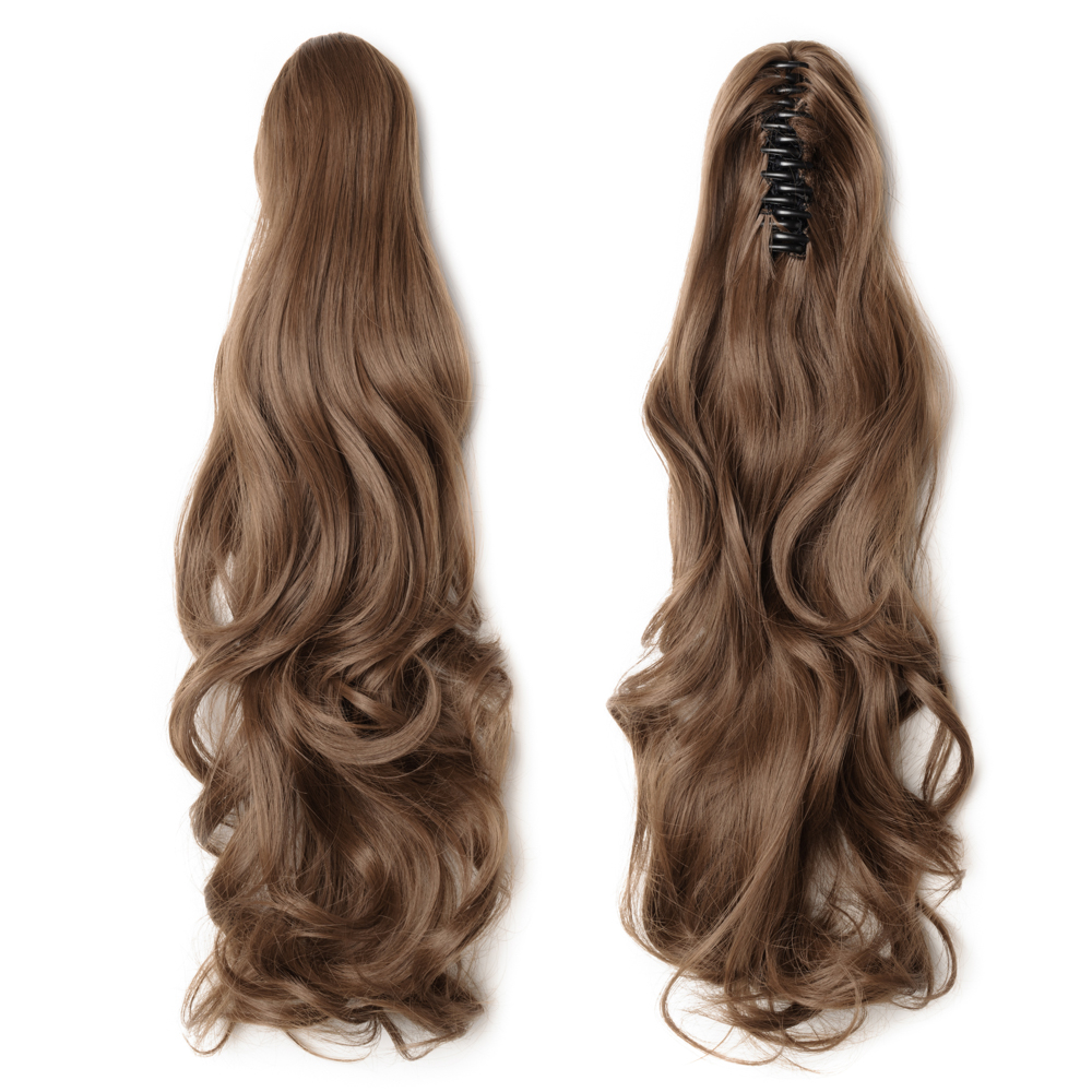 "18"" 145g #12 Light Brown Curly Synthetic Claw Clip In Ponytail"