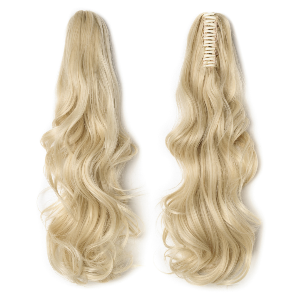 "18"" 145g #613 Bleach Blonde Curly Synthetic Claw Clip In Ponytail"