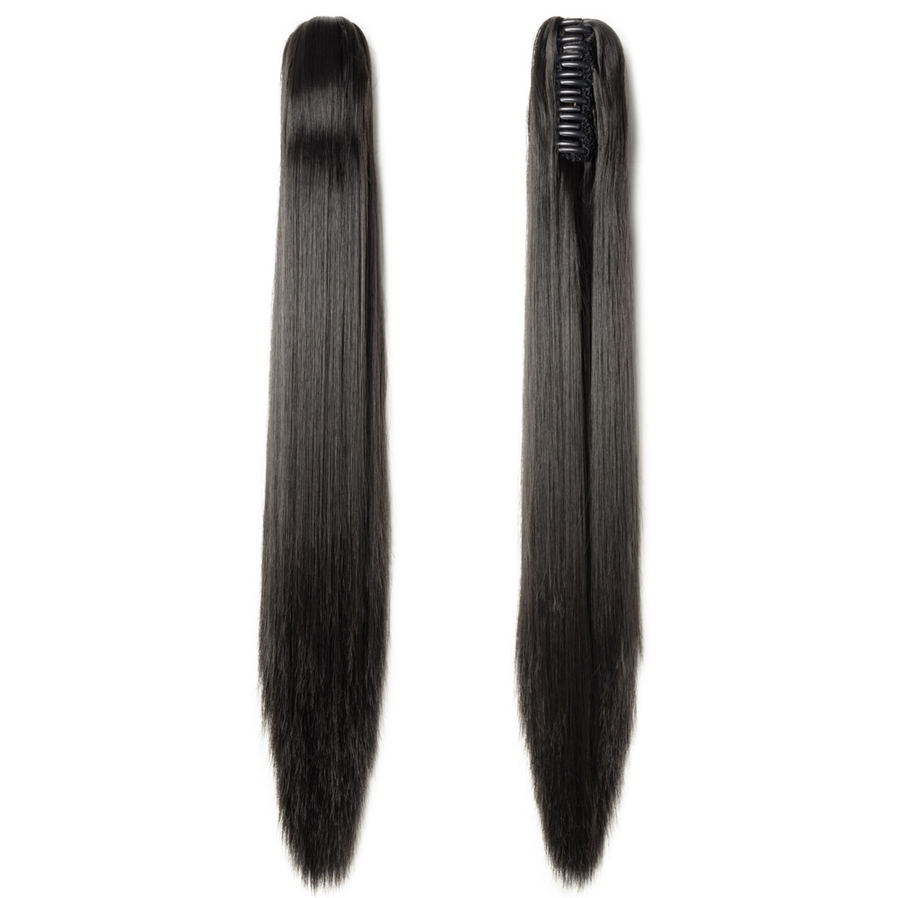 """21"""" 145g #2A Natural Black Straight Synthetic Claw Clip In Ponytail"""